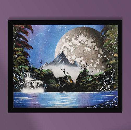 Tenera è La Notte- Dipinto di paesaggio notturno con montagna, lago e luna- Wolf Art
