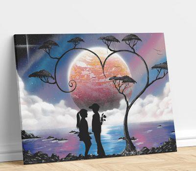 Paesaggio nel cuore-Fidanzati in paesaggio notturno, luna, lago e albero- Wolf Art