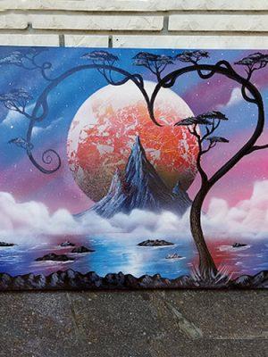 Paesaggio nel cuore- Variazione con montagna e lago- Wolf Art