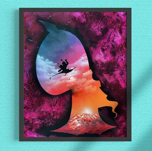 Aladdin- Sagoma di Jafar con Jasmine e Aladdin che volano sul tappeto. Genio, lampada, sultano. Spray paint art