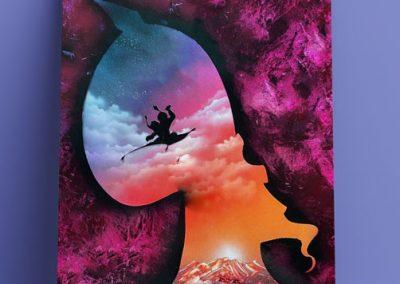 Aladdin- Tela con sagoma di Jafar e Jasmin e Aladdin che volano sul tappeto- Wolf Art