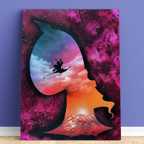 Aladdin- Sagoma di Jafar con Jasmin e laddin che volano su tappeto, grotta, lampada, genio- Spray Paint Art