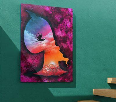 Aladdin- Sagoma di Jafar con Jasmine e Aladdin che volano sul tappeto. Spray Paint Art