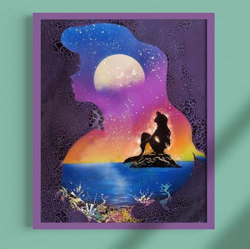 La Sirenetta- Dipinto della sirenetta sullo scoglio e sua sagoma, mare- Wolf Art