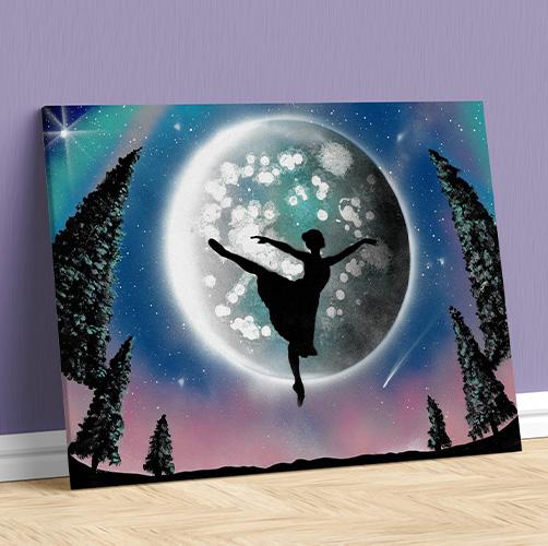 Balla Bella- Dipinto su tela, ballerina che volteggia di notte con Luna e alberi- Spray Art