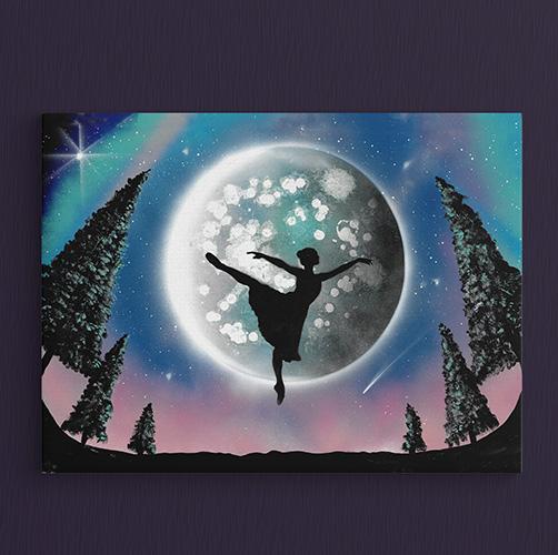 Balla Bella- Ballerina che volteggia davanti alla Luna, pianeta, alberi, paesaggio notturno- Wolf Art