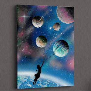 Fuga per un sogno infinito- Bimba trascinata da pianeti, universo, palloncini- Wolf Art