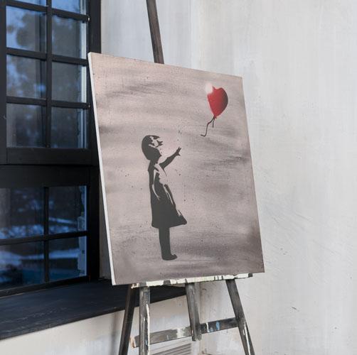 Banksy- Dipinto su tela di bambina con palloncino rosso- Wolf Art