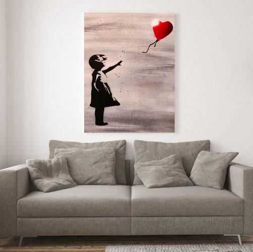 Banksy- Immagine bambina con palloncino rosso cuore- Wolf Art