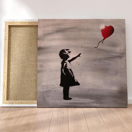 Banksy- Dipinto su tela di bambina che fa volare palloncino rosso cuore- Wolf Art