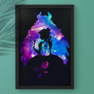 La Bella e La Bestia- Dipinto de la bella e labestia con sagome e rosa sotto il vetro- Wolf Art