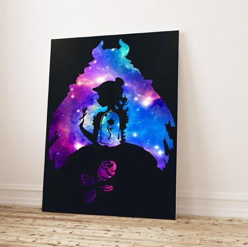 La Bella e la Bestia- Sagome de la bella e la bestia su sfondo nero con colori brillanti- Wolf Art
