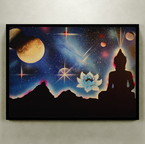 Il Budda E Il Fiore Di Loto- Budda in ombra con fiore di Loto, pianeti e stelle, immagine onirica- Wolf Art