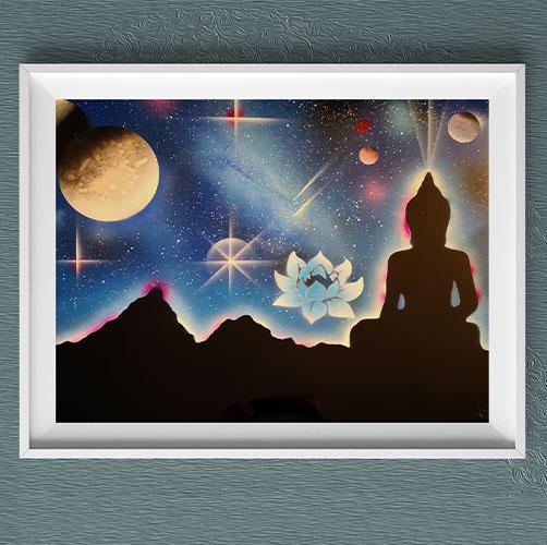 Il Budda e il Fiore di Loto- Sagome di Budda in ombra con fiore di Loto, pianeti e stelle- Wolf Art