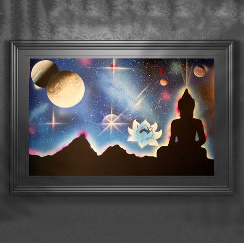 Il Budda E Il Fiore Di Loto- Budda in ombra con fiore di Loto con pianeti e stelle- Wolf Art