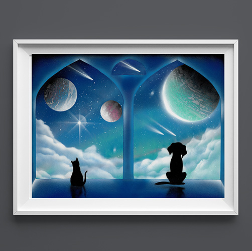 Le finestre delle meraviglie- Cane e Gatto che guardano pianeti dalla finestra- Wolf Art