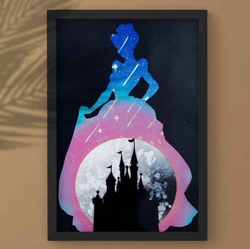 Cenerentola- Sagoma di Cenerentola con castello e stelle- Spray Paint Art