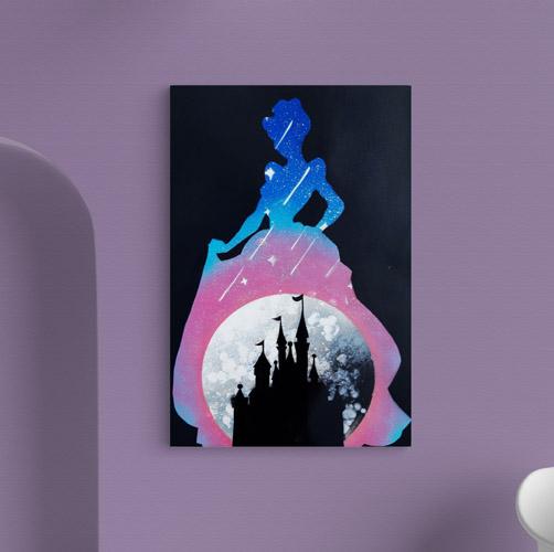 Cenerentola- Sagoma di Cenerentola con castello e stelle- Wolf Art