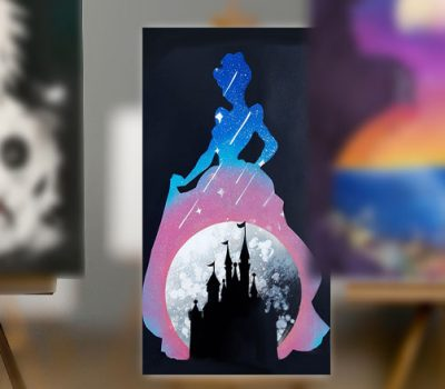 Cenerentola, sagoma con castello e stelle- Spray Paint Art