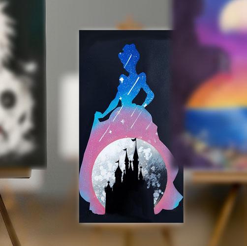 Cenerentola, sagoma con castello e stelle- Spray Paint Art