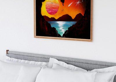 Cave Love- Paesaggio al tramonto visto da una grotta, con lago e sole- Spray Paint Art- Wolf Art