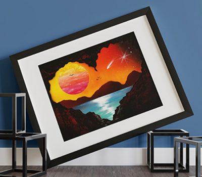 Cave Love- Paesaggio al tramonto del mare vista da una grotta- Cubi- Wolf Art
