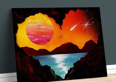 Cave Love- Monti sole e mare paesaggio al tramonto visto da una grotta- Wolf Art