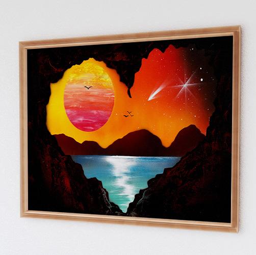 Cave Love- Paesaggio al tramonto visto da una grotta, Cuore, sole ,lago, mare- Wolf Art