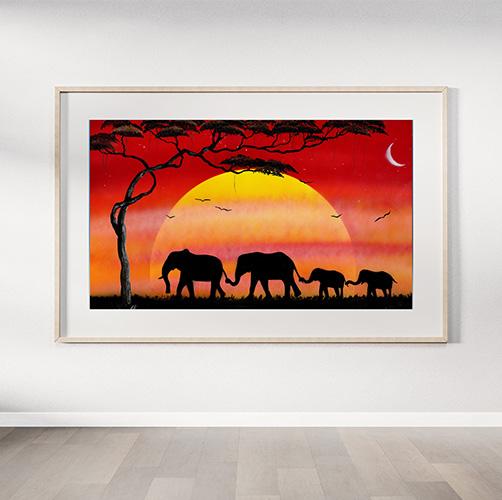 Famiglia di elefanti- Due elefanti adulti con coppia di cuccioli che passeggiano al tramonto con albero sole e luna- Wolf Art