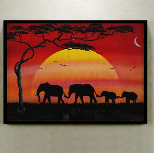 Famiglia di elefanti- Coppia di elefanti che paseggiano con coppia di cuccioli al tramonto. Colore rosso- Wolf Art