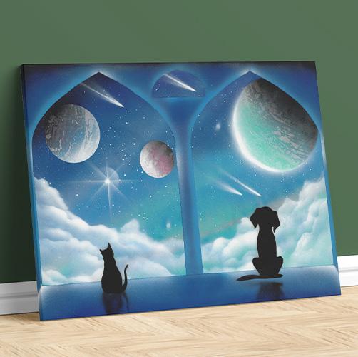 Le finestre delle meraviglie. Cane e gatto, animali domestici che guardano fuori dalla finestra, colore blu- Wolf Art