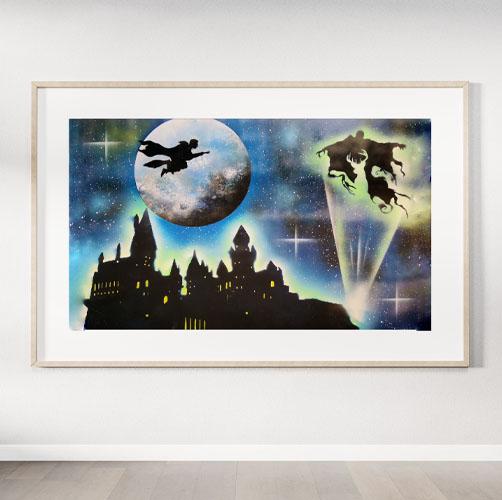 Harry Potter- Immagine del maghetto con il castello- Wolf Art