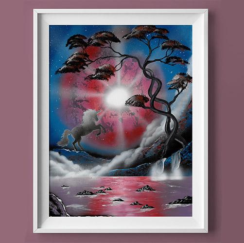 Il mondo degli unicorni- Cavallo che impenna in paesaggio notturno, con lago e albero- Wolf Art- Unicorno che imp