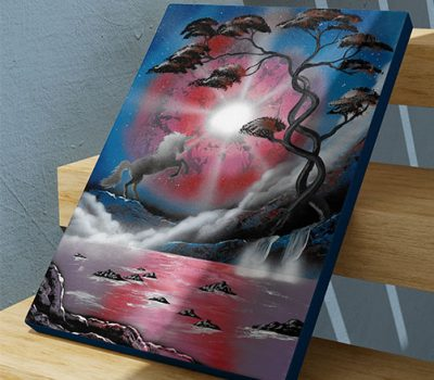 Il mondo degli unicorni- Unicorno che impenna davanti al lago, albero, e luce notturna- Wolf Art