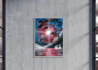 Il mondo degli unicorni- Unicorno che impenna davanti al lago, paesaggio notturno, colore blu, rosso- Wolf Art