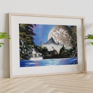 Quadro paesaggio naturale montagne sul lago di Wolf Art