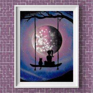 Insieme al mondo-Bimba con gatto su altalena che guardano la luna- Wolf Art Wolf Art