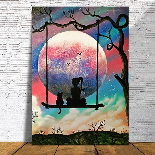 Insieme al mondo- Bambina con gatto su altalena che guardano la luna- pavimento legno- Wolf Art