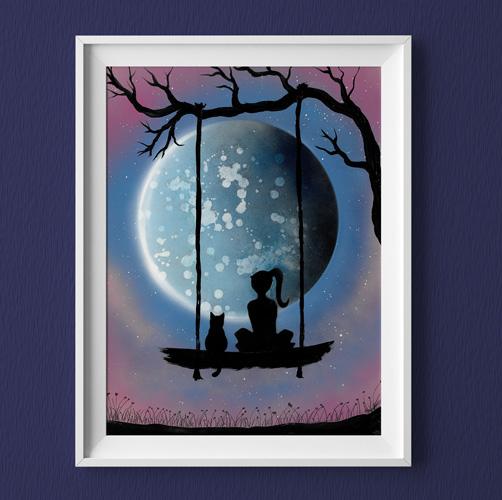 Insieme al mondo- Bimba e gatto su altalena che guardano pianeta- viola e azzurro e rosa- Wolf Art