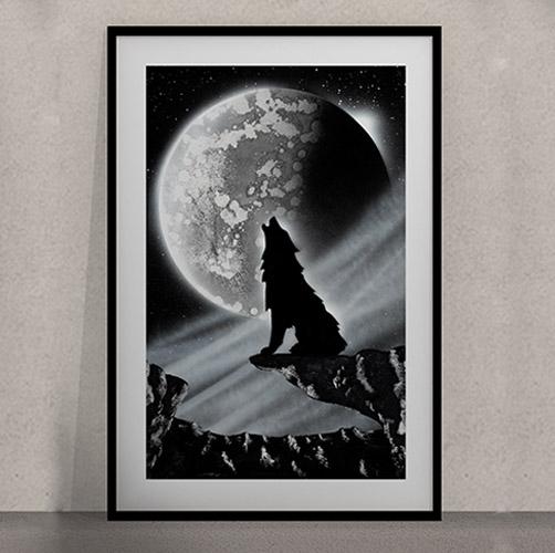 Lupo Black&White- Lupo che ulula alla luna- paesaggio notturno- Wolf Art