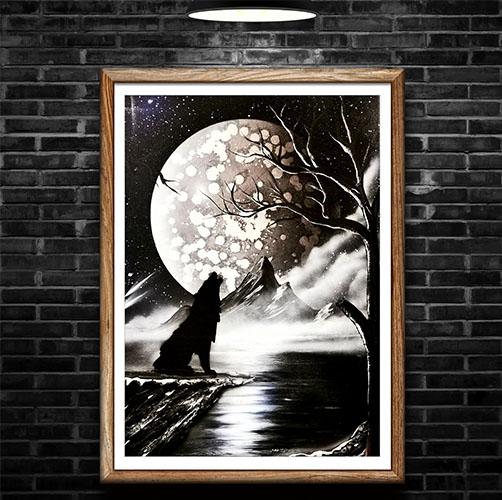 Lupo Black&White- Lupo che ulula alla luna, paesaggio notturno- Wolf Art