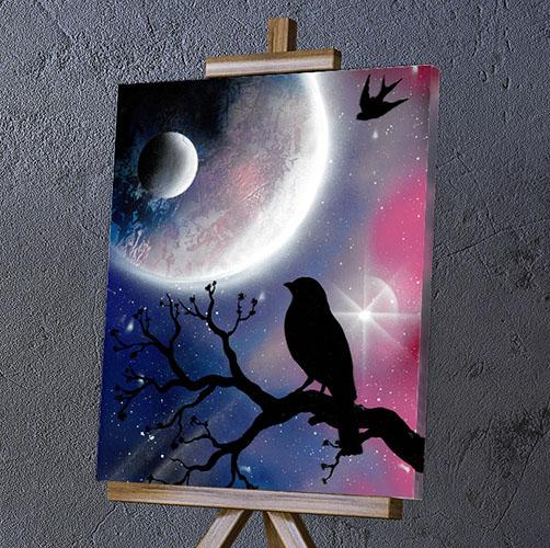 Merlo Pensatore- Merlo sul ramo paesaggio notturno- Wolf Art