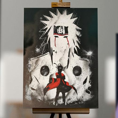 Naruto- Doppia immagine di Naruto, bianco nero e rosso- Wolf Art