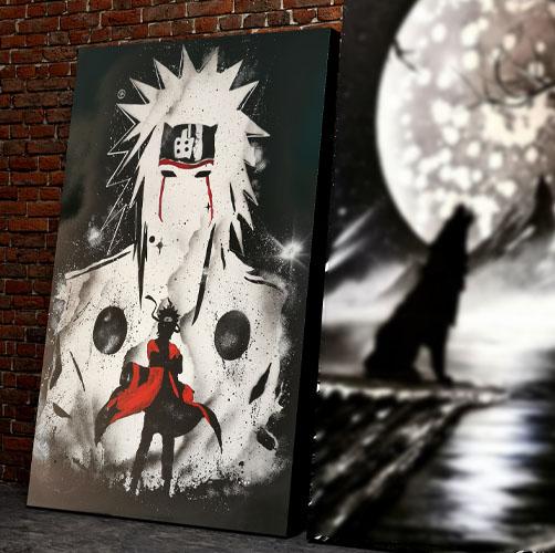 Naruto- Tela di Naruto con colore bianco nero e rosso, doppia immagine- Spray Paint Art- Wolf Art