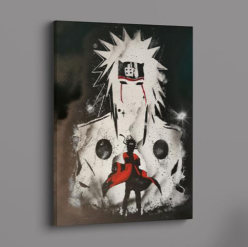 Naruto- Doppia immagine di Naruto, colore bianco nero e rosso- Wolf Art