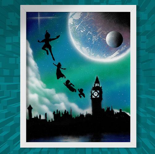 Peter Pan- Immagine iconica dei personaggi che volano di notte di fronte al campanile- Wolf Art