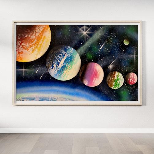 The Big Black Space- Cinque pianeti allineati e colorati nello spazio- Wolf Art
