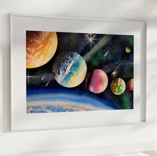 The Big Black Space- Pianeti allineati nello spazio, colorati- Wolf Art