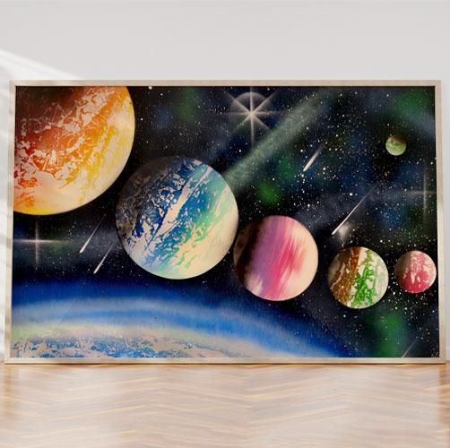 The Big Black Space- Pianeti nello spazio con colori- Wolf Art