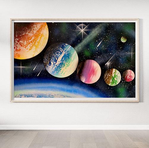 The Big Black Space- Dipinto spray art- Wolf Art